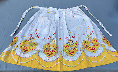 Vintage Apron 1950's Bright Yellow and Red Print Cotton