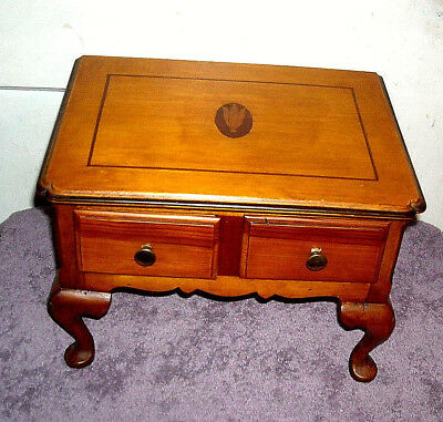 Antique Inlaid Wood Footed Jewelry Box