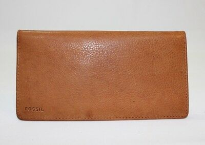 Fossil Brown Leather Bifold Wallet Checkbook Cover W/ Credit Card Slots *GUC*