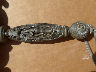 """vintage sword  24 1/2"""" nude woman handle with men on horses fighting long knives"""