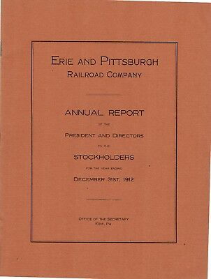 Erie and Pittsburgh Railroad Company 1912 Annual Report FREE SHIPPING