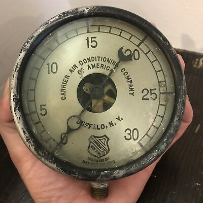 Antique Vtg Ashcroft Carrier Air Conditioning Gauge Steampunk Industrial Rustic