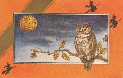 """ Who Dares To Keep Hallowe'en With Me ? ""  , Owl And Pumpkin With Witches 1917"