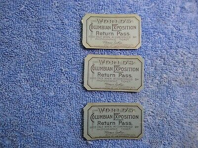 3 Blue Return Passes 1893 Columbian Exposition, Hard to Find Tickets, Look Now!!
