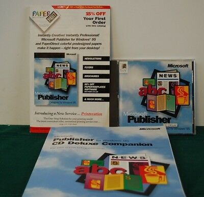 Vintage 1995 Genuine Microsoft Publisher CD Deluxe for Windows with CD Key