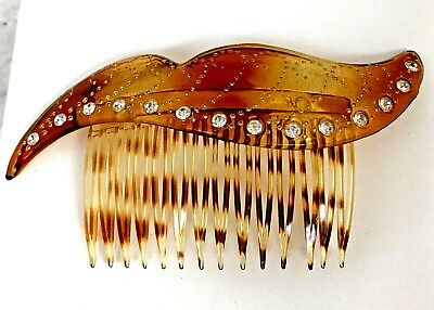 Vintage Celluloid or Plastic Tortoise Shell Rhinestone Hair Comb Accessory