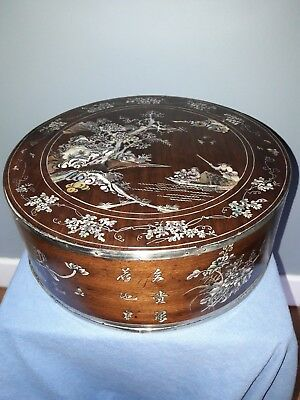Vietnamese  Chinese  Wood  Mother Of Pearl Inlaid Box.  Tray. Vietnam.asia