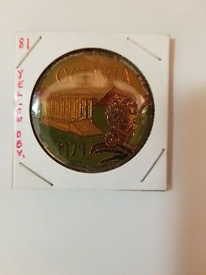 1981 Krewe of Octavia Multi Color Doubloon (YELLOW OBVERSE)