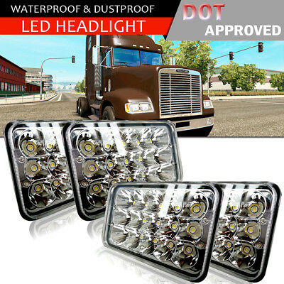"2Pairs LED Headlights 4x6"" Lamp fit Ford Mustang Chevrolet Impala DOT Approved"