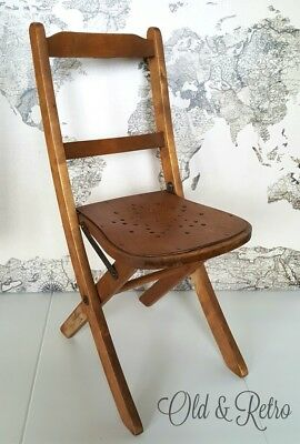Antique vintage Childs WOODEN Folding Chair Fireside School Nursery photo prop