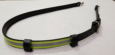 Sav-A-Jake Firefighter Leather 3M Triple Yellow Reflective Radio Strap