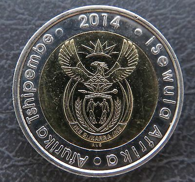 South African 5 Rand Coin 2014 with Wildebeest Bi-metallic Circulated
