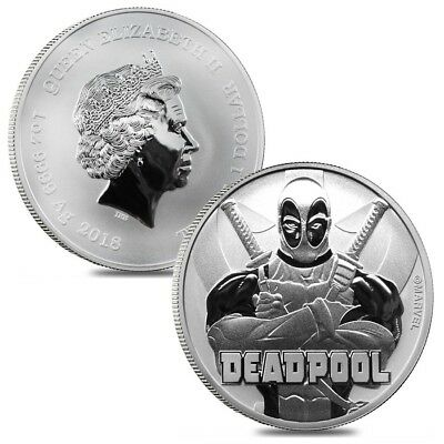 Lot of 2 - 2018 1 oz Tuvalu Deadpool Marvel Series Silver Coin BU In Cap