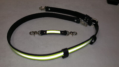 Sav-A-Jake Firefighter Leather 3M Triple Yellow Reflective Radio Strap set XL