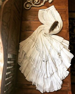 Antique 1800's Victorian White Cotton Petticoat Skirt~Embroidered Fluer De Lis