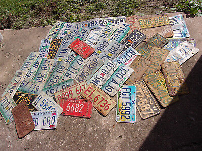 BIG Mixed Lot 50 Old used License Plate Sign Exp. Man Cave Junk Yard As Is