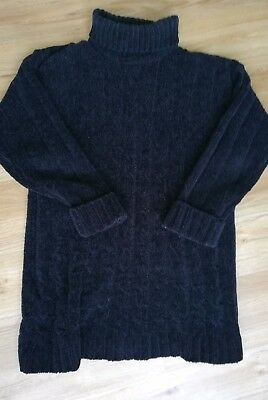 Ladies black chenille chunky roll neck jumper