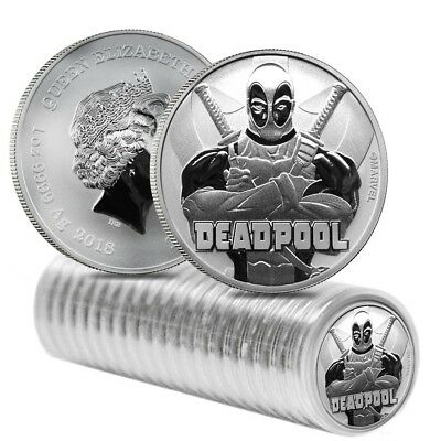Roll of 20 - 2018 1 oz Tuvalu Deadpool Marvel Series Silver Coin BU In Cap