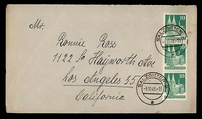 DR WHO 1948 GERMANY STRIP SALZGITTER TO USA  d56992