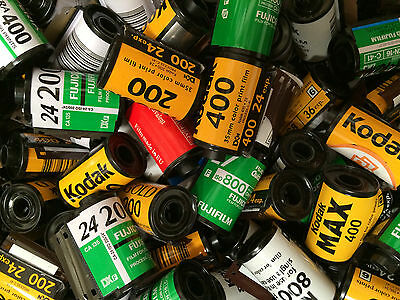 Lot of 25 Empty Assorted 35mm film canisters/cassettes/cartridges Fuji, Kodak