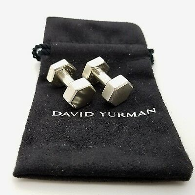 David Yurman Sterling Silver Bolted Bolt Cuff Links Cufflinks With Pouch & Box