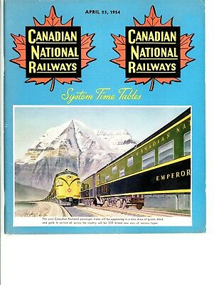 Canadian National Railways, System passenger time table, April 25, 1954 - 85 Pgs