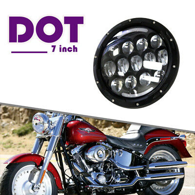 "7"" LED Black Headlight  2017 Harley Street Glide Softail FLHX FLD DRL Turn(Amber"
