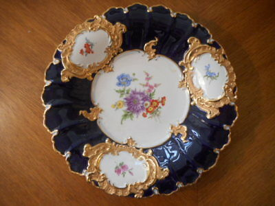 Meissen A Cobalt Blue Plate With Gold And Flowers