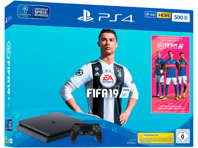 SONY Playstation 4 500GB Jet Black EA Sports Fifa 19 Bundle Neu OVP