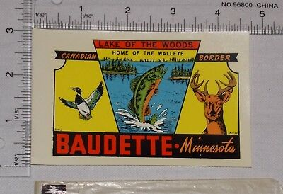 Lake of the Woods Baudette Minnesota Travel Decal Sticker Fishing Vintage c 1965
