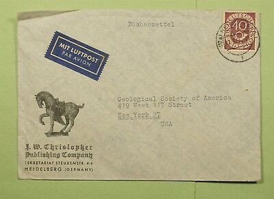 Dr Who 1954 Germany Heidelberg To Usa Air Mail C53682