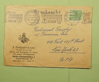 Dr Who 1952 Germany Berlin To Usa C53684