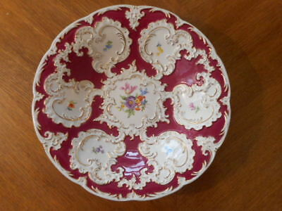 Meissen A Burgundy Plate With Gold And Flowers
