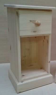 Unfinished Solid Bedside Cabinet Narrow Gap Slim Not Painted Hand Crafted