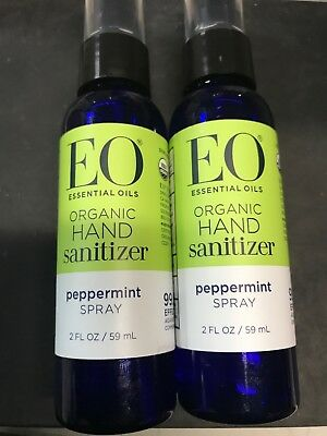2 Pack of EO Essential Oils Organic Hand Sanitizer Spray Peppermint 2 fl oz..  >