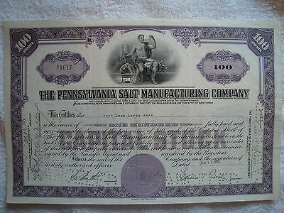 THE PENNSYLVANIA SALT MANUFACTURING CO 100 SHARES USA aus den 1940igern