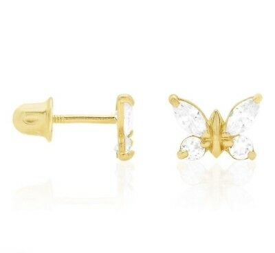 b0f1eb657 14K YELLOW & White Gold Multicolor Gemstone Butterfly Screw Back ...