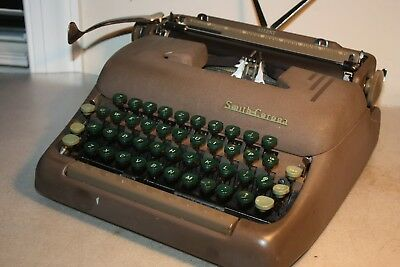 Smith Corona 1952 Silent Typewriter - Green Keys, tested working, #5S487593