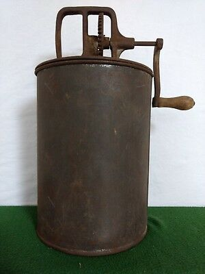 Vintage Metal Butter Churn - Gear Driven With Metal Paddle- Nice Patina