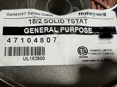 Honeywell Genesis 4710 18/2C 18awg 2 Conductor Solid Thermostat Cable Brown/50ft