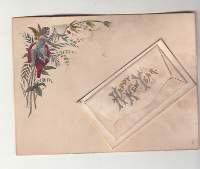 Happy New Year Cupid Nymph Mini Envelope  Vict Card c1880s