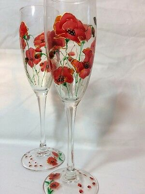 Hand Painted Champagne Glasses Poppy Flower Theme