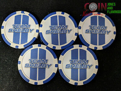 Lot Of 5 $10 Team Shelby Poker Chip Museum Entry Tokens #8157