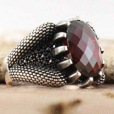 Turkish Handmade 925 Sterling Silver Jewelry Faceted Ruby Men Ring Size 10.25 US