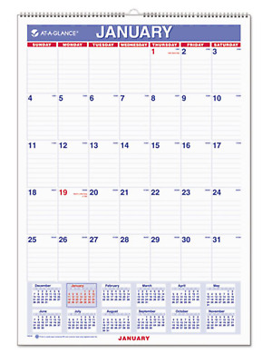 """AT-A-GLANCE PM228 2019 MONTHLY WALL CALENDAR RULED BLOCKS WIREBOUND 12"""" x 17"""""""