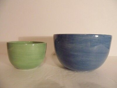 """Tabletops Gallery Corsica Mixing Nesting Bowls Blue Green 6"""" & 4""""  Set of Two"""