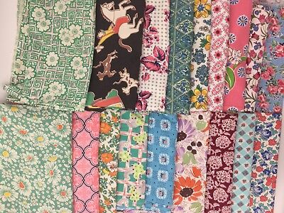 18 LARGE PIECE Vintage flour Feed sack Fabric 1930's 40's LOT Floral Pink Aqua