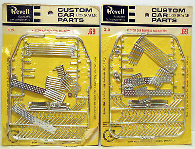 2 Revell Chrome Custom Car Bumpers & Grilles Parts Packs