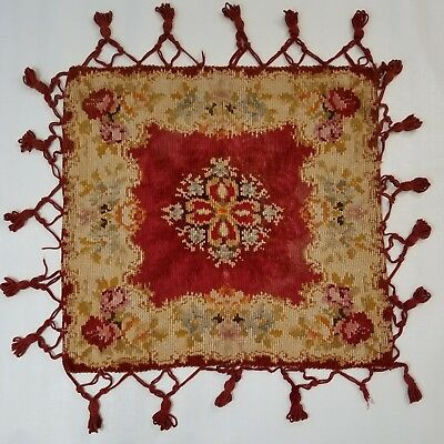 Antique Victorian Chenille Floral Table Cover Square Textile