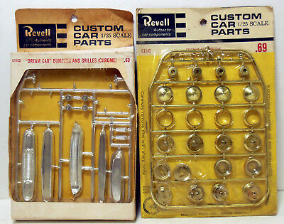 2 Revell Chrome Dream Car Bumpers/Grilles Gold Wheels Parts Packs